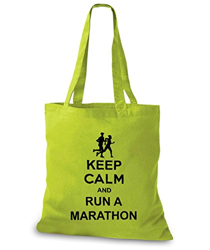 StyloBags Jutebeutel / Tasche Keep Calm and run a Marathon Kiwi