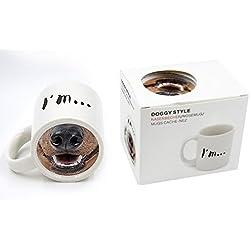 WoW STORE taza 3D divertida para el cafè con foto de nariz de perro abajo