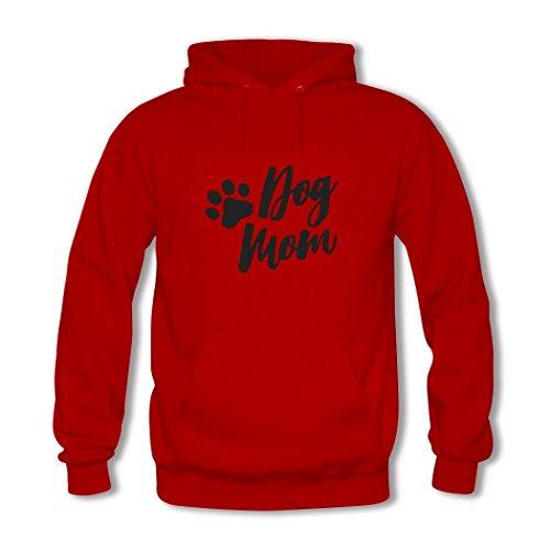 HGLee Printed DIY Custom Dog Mom Women's Hoodie Hooded Sweatshirt Red--2