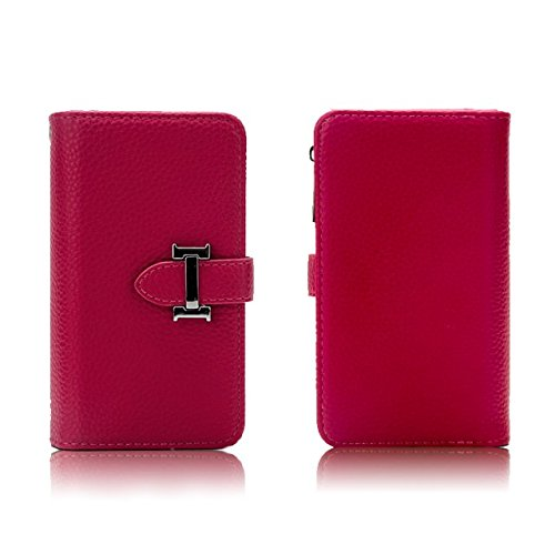 EKINHUI Case Cover Solid Color Litchi Skin PU Leder Magnetic Closure Pattern Schutzhülle mit Card Slots & Zipper Pouch & Abnehmbare Back Cover für iPhone 6 Plus & 6s Plus ( Color : Red ) Red
