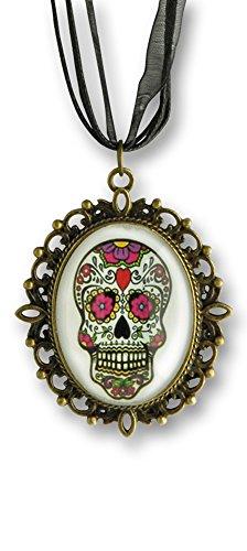 Körner Festartikel Halskette mit Day of The Dead Medaillon - Trendiger Schmuck zum Kostüm für Halloween, Karneval und Mottoparty