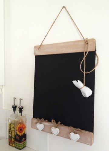Wooden Memo Tafel Shabby Vintage Style Tafel Küche Message Board Drei weiße Herzen