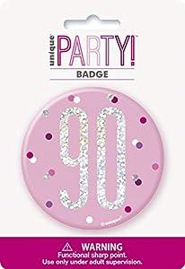 Unique Party 83538 - Insignia de cumpleaños, color rosa y plateado