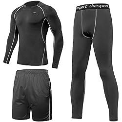 SPARIN Trinidad Vêtements de sport pour hommes [T-shirt à manche longue + Pantalons courts + Leggings] Une peau fraîche et à séchage rapide pour la course, l'entraînement, le ski, le jogging, le yoga et le cyclisme [Taille: M]