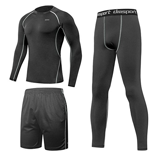SPARIN Fitness Clothing Set, Compresssion Base Layer Long Sleeve T-shirt + Leggings + Shorts, Lightweight Quick Dry Sport Clothing for Men, Compatible for, Running, Gym. Size-M