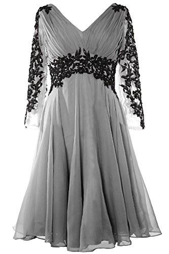 MACloth Women V Neck Long Sleeve Cocktail Dress Short Mother of the Bride Dress Silber
