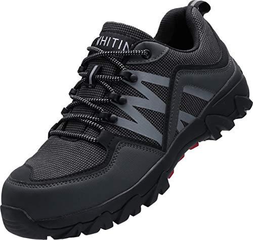 WHITIN Sicherheitsschuhe Herren Arbeitsschuhe mit Stahlkappen Leicht Atmungsaktiv Titanium Shoes Sicherheits Schutzschuhe Arbeits Schuhe Safety s2 grau Größe 39 EU