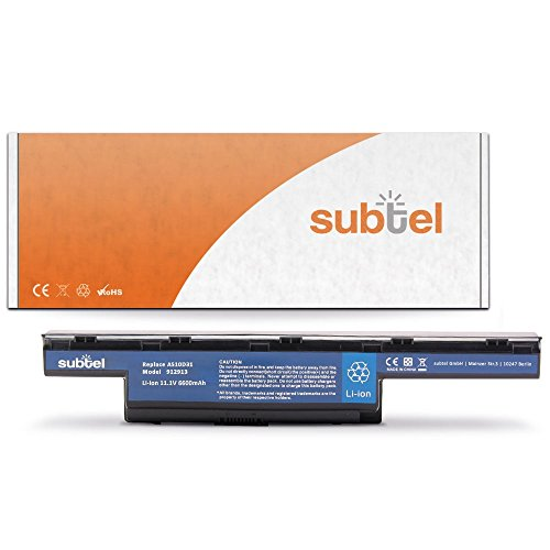 subtel® Qualitäts Akku (6600mAh) kompatibel mit Acer Aspire 5742/5750 / 7560/7741 / 7750 / V3 571 AS10D31 Notebookakku Laptopakku Ersatzakku Batterie