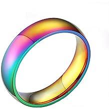 Dabaxi Mariage Bandes classique en acier inoxydable 6mm Gay Lesbian True Love Promise Bague de fiançailles Taille 6–12