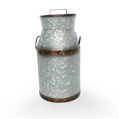 Barnyard Designs großes Rustikales verzinktem Dose Milch kann, Krug | Vintage Rusty Distressed Farmhouse Vase, Country Primitiv Home Decor, 36,8cm Höhe, metall, silber, Large (Milch-krug Vintage)