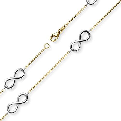 Armband Infinity Unendlichkeit Armschmuck aus 585 Gold Gelbgold & Weißgold 18cm