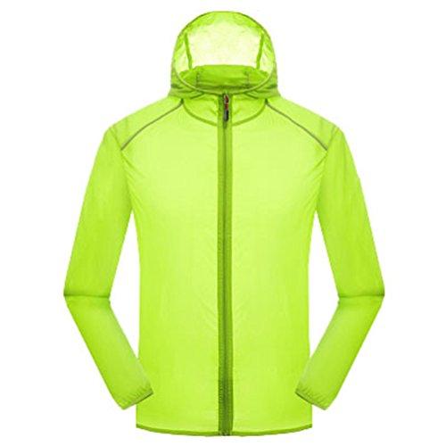 Yuanu Liebhaber Reine Farbe UV-Schutz Sonnenschutz Jacke Leichtgewicht Atmungsaktiv Wasserdicht Schnell Trocknend Lange Ärmel Haut Windjacke Mit Kapuze Fruchtgrün XL