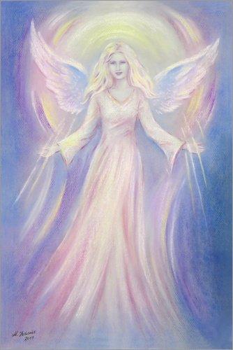 Poster 40 x 60 cm: Light and Love - Angel Painting de Marita Zacharias - Reproduction Haut de Gamme, Nouveau Poster