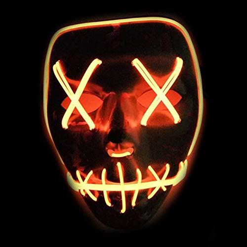 Wddt halloween maschera cosplay maschera smorfia led fluorescenti mask el cold light party mask maschera arancione orange
