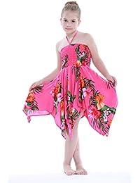 Niña gitano Botón desigual Hawaiian Luau vestido en Rosa caliente floral
