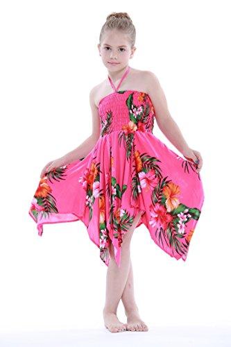 Nia-gitano-Botn-desigual-Hawaiian-Luau-vestido-en-Rosa-caliente-floral-8