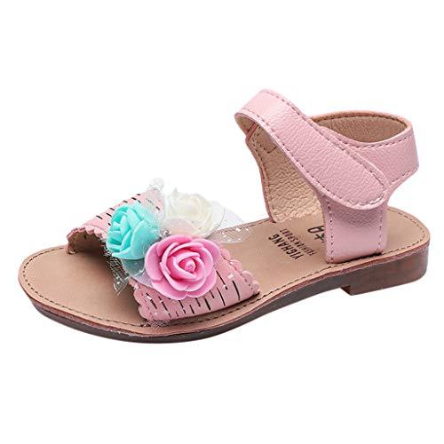 feiXIANG Mädchen beiläufige Sandalen Schön Blumen Baby Prinzessin Schuhe Freizeit Party Urlaub Strandschuhe(Rosa,27)