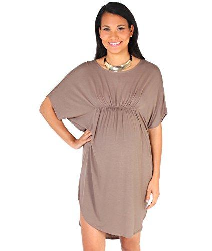 KRISP 9047-MOC-S: Schwangerschaft Tunikakleid Longshirt (Mokka, Gr.S)