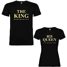 Pack de 2 Camisetas Negras para Parejas, The King y His Queen, Dorado