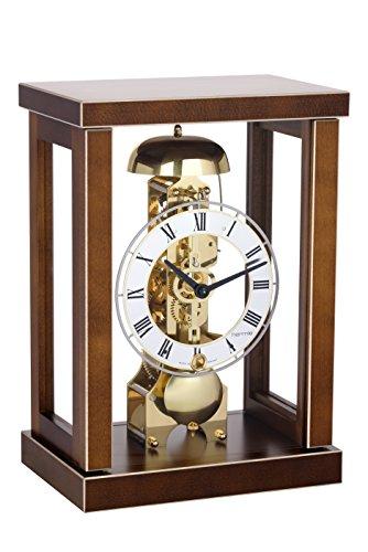 magicaldeco Tischuhr mit Skelettuhrwerk 14 Tage mit Gongschlag, massiv Holz- Uhrwerk Messing, Germany