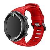 Ansenesna Sportuhr Armband Einstellen Strap Band Silikon Bracelet für Smartwatch Gps Running Runtastic Uhr Suunto Core (Rot)