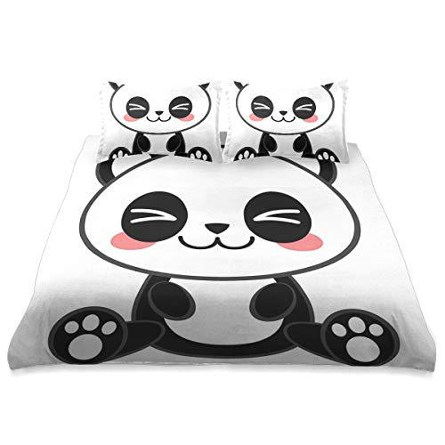 VORMOR Ropa de Cama - Juego de Funda nórdica,Cute Cartoon Sonriendo Panda Diversión Animal Theme...