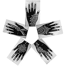 Henna Stencils AS SEEN IN VOGUE Pack of 5 Tattoo Mehndi Reusable Stickers LeftHand
