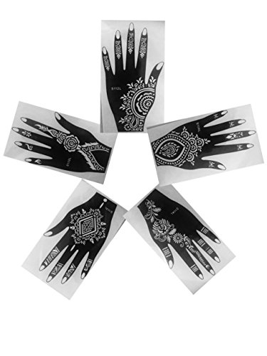 Henna Stencils AS SEEN IN Vogue 5PC Tattoo Mehndi Reusable Stickers Left Hand