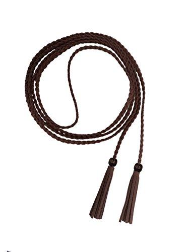 Mädchen Dekorative Gestrickte Lederbauchkette / Seil / Gurt mit Troddel und Kügelchen PDW0043 (kaffee) (Seil Gürtel)