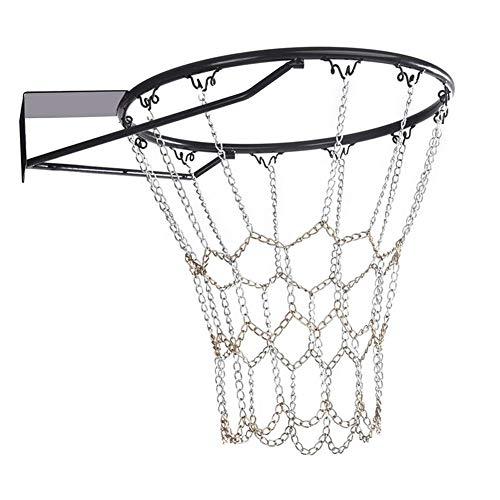 LUCYPAPASHOW Metall Basketballnetz, Verzinktes Metallnetz Ketten Netz Mit 12 Haken Für Die Meisten Standardreifen Indoor-Turnhallen, Öffentliche Outdoor-Basketballplätze -
