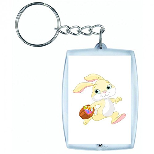 üsselanhänger Ostern- HASE- Kaninchen- Tier- Anthropomorphe- Korb- Eier- Cartoon- Comic in Weiss | Keyring - Taschenanhänger - Rucksackanhänger - Schlüsselring ()