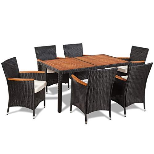 Tidyard Garten Essgruppe 13-TLG. Poly Rattan Akazienholz Tischplatte Gartenmöbel Sitzgruppe Esszimmerstühle und Tisch Gartenstisch und Stuhl mit 1 Gartentisch + 6 Stühle