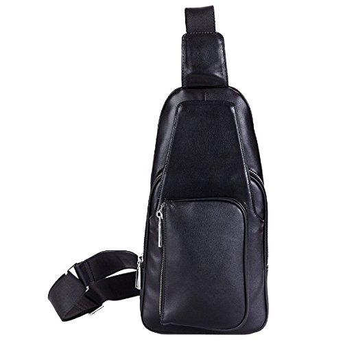 Uomini Yy.f Del Sacchetto Di Spalla Casuale Primo Strato Di Messenger Bag In Pelle Borse Degli Uomini Di Colore Solido Il Sacchetto Di Spalla Di Stile Di Affari Sacchetto Solido 2 Colori Black