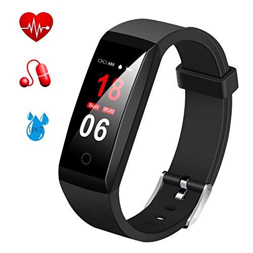 MSDJK Fitness Armband mit Pulsmesser Blutdruckmessgerät,Farbdisplay Smart Activity Tracker ,Wasserdicht IP67 Fitness Tracker Schrittzähler Uhr mit 14 Trainingsmodi Vibrationsalarm Anruf SMS Beachten mit iOS&Android Handy