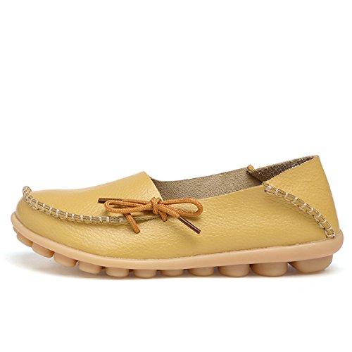 AFFINEST ocassins Femmes Loisirs Confort Chaussures Plates Loafers en PU Cuir Chaussures de Conduite,20 Couleurs Jaune