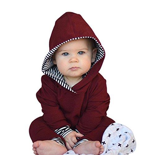 Kinderbekleidung Baumwolle Kinder Set Winter Btruely Mädchen Kinderbekleidung 2pcs Langarm Tops Baby Clothes Set Hoodie Pullover + Hosen Outfits (80, Wine) (Dots Mischung Spezielle)