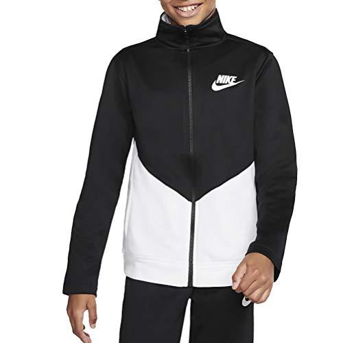 Nike Unisex-Kinder B NSW Core TRK Ste Ply Futura Trainingsanzug, Schwarz Weiß, S