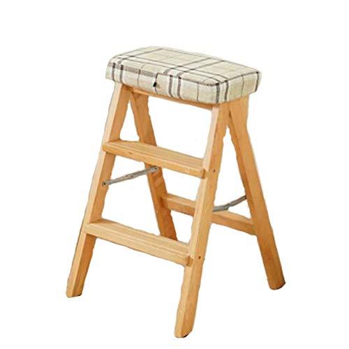 Klapphocker aus Holz, tragbarer Hochleistungs-Doppelschichtleiter-Trittleiter, Küchenschlafzimmer mit Pedal-Freizeithocker, 42,6 x 47 x 64 cm-Yellow