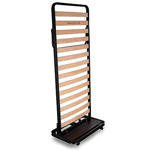 EVERGREENWEB MATERASSI & BEDS Klappbett mit vertikalem Verschluss, platzsparender Lattenrost aus Buchenholz, mit Rollen und Elastischen Gurten zur Aufbewahrung der Matratze