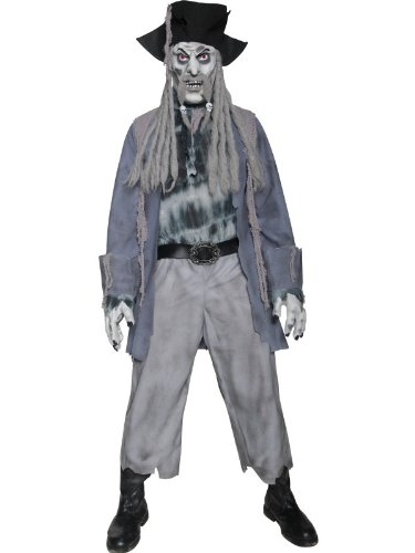 Smiffys Herren Zombie-Geisterpirat Kostüm, Jacke, Hemd, Hose, Hut mit Dreadlocks, Maske und Handschuhe, Größe: M, 34118 (Ghost Kostüm Pirate)