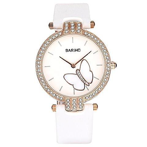 Hongboom Blanc véritable de bande de cuir montre bracelet étanche à 30m pour femme décontracté Business analogique à quartz Tchèque zircon Montre-bracelet