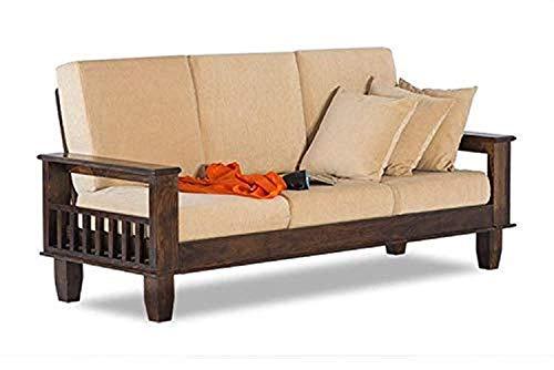 Santosha Decor Solid Sheesham Wood 3 Seater Sofa Set with Cushions