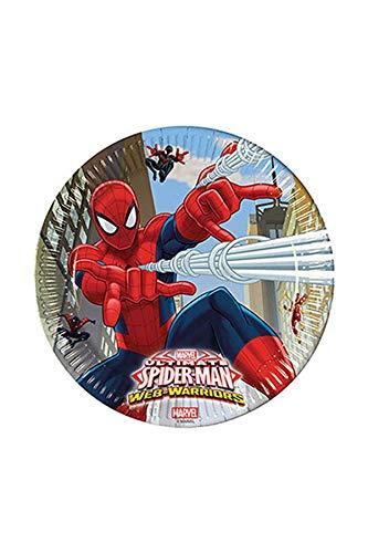 Ciao Procos 85151–Assiettes Papier Ultimate Spider Man Web Warriors, Ø23cm, 8pièces, Rouge/Bleu/Bleu Clair
