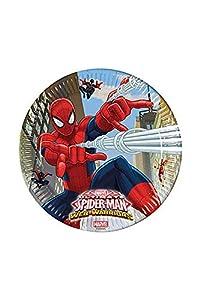 Procos 85151-Platos Papel Ultimate Spider Man Web Warriors, Ø23cm, 8piezas, rojo/azul/azul