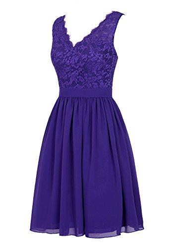 Dresstells, robe courte de demoiselle d'honneur robe de cocktail mousseline dentelle sans manches col en V Rouge