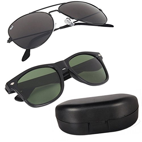 Elligator Combo Of 2 Aviator Unisex Sunglasses - (Aavblk-Blkwyfr-Box-Sg Black)