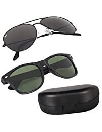 Elligator Combo Of 2 Aviator Unisex Sunglasses - (Aavblk-Blkwyfr-Box-Sg|Black)