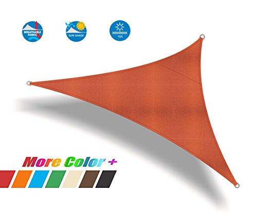 Ommda Toile Voiles d'ombrage Triangulaire Jardin Toile d'ombrage Matière 95% Crème Solaire Anti UV Rosso Arancio 3.6x3.6x3.6m