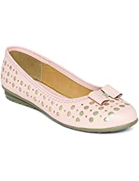 Marc Loire Women's Pink Solid/Perforation Round Toe Slip On Slip On Ballerina Flats