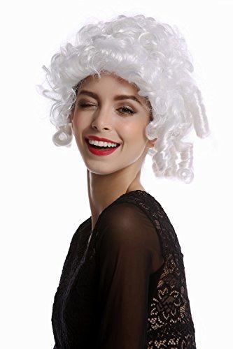 Wig me up - 90906-ZA62 Perücke Damenperücke Karneval Halloween Barock Rokoko kurz Korkenzieherlocken weiß Adlige Edelfrau Marie Antoinette